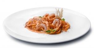 """ricetta """"Pici Dritti pastificio Morelli"""" aglio dolce, 'nduja e gambero rosa"""